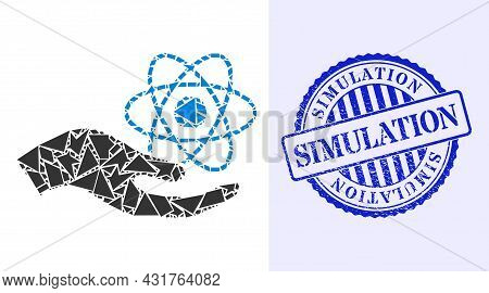 Detritus Mosaic Quantum Service Hand Icon, And Blue Round Simulation Rough Seal With Caption Inside