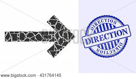 Spall Mosaic Direction Arrow Icon, And Blue Round Direction Corroded Stamp Imitation With Caption In