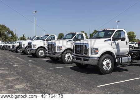 Indianapolis - Circa September 2021: Ford F-650 Medium Duty Truck Display At A Dealership. The Ford
