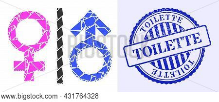 Debris Mosaic Toilet Gender Symbol Icon, And Blue Round Toilette Unclean Stamp Seal With Text Inside