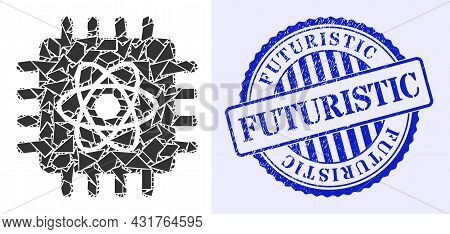 Debris Mosaic Quantum Computing Icon, And Blue Round Futuristic Grunge Seal With Caption Inside Roun