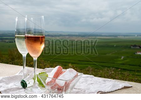 Symbols Of Reims, White And Rose Brut Champagne Wine And Rose Biscuits And View On Green Pinot Noir