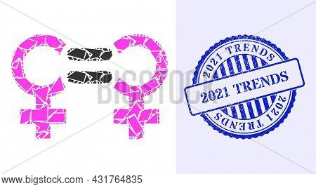 Fragment Mosaic Lesbian Relation Symbol Icon, And Blue Round 2021 Trends Grunge Stamp Imitation With