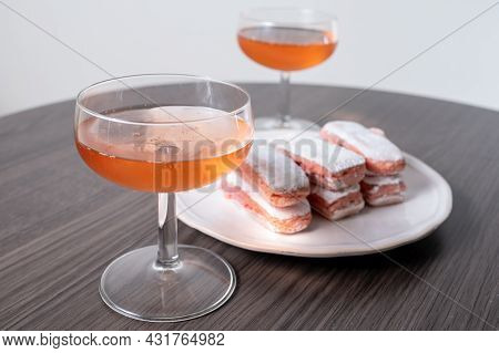 Symbols Of Reims - Glasses Of Rose Brut Champagne And Rose Biscuits