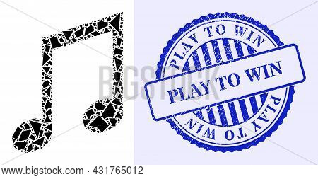 Fragment Mosaic Music Notes Icon, And Blue Round Play To Win Grunge Stamp Print With Word Inside Rou