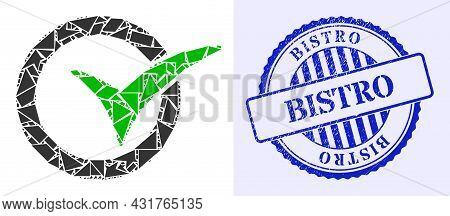 Shards Mosaic Yes Vote Icon, And Blue Round Bistro Scratched Stamp Print With Tag Inside Round Shape