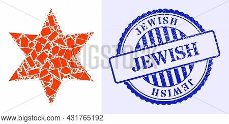 Shard Mosaic Six Pointed Star Icon, And Blue Round Jewish Grunge Stamp Seal With Caption Inside Roun