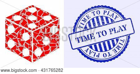Fraction Mosaic Dice Cube Icon, And Blue Round Time To Play Rubber Stamp Seal With Tag Inside Round