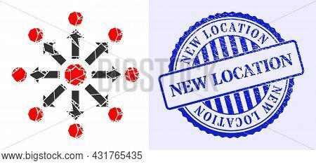 Spall Mosaic Expansion Icon, And Blue Round New Location Rough Seal With Text Inside Round Shape. Ex