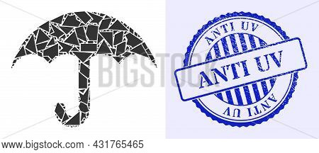 Debris Mosaic Umbrella Icon, And Blue Round Anti Uv Corroded Stamp Seal With Caption Inside Circle F