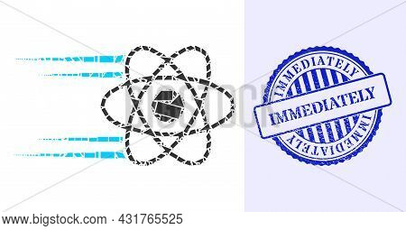 Shards Mosaic Rush Atom Icon, And Blue Round Immediately Grunge Stamp Print With Tag Inside Round Fo
