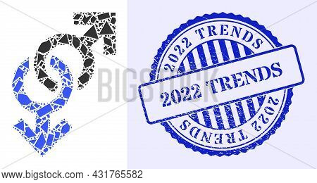 Shatter Mosaic Gay Symbol Icon, And Blue Round 2022 Trends Dirty Stamp Seal With Tag Inside Round Fo