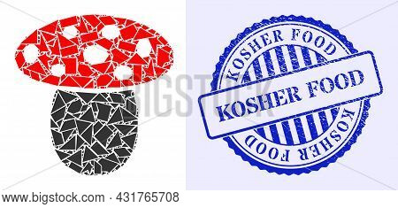 Debris Mosaic Mushroom Icon, And Blue Round Kosher Food Rubber Stamp Seal With Caption Inside Circle