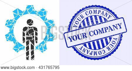Fraction Mosaic Human Resources Icon, And Blue Round Your Company Corroded Stamp Seal With Word Insi