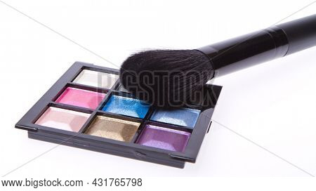 compact eyeshadows isolated on white