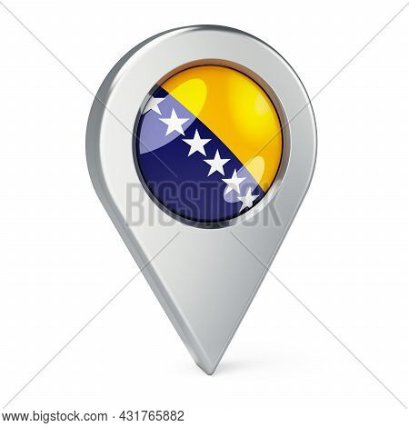 Map Pointer With Flag Of Bosnia And Herzegovina, 3d Rendering Isolated On White Background