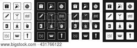 Set Classic Dart Board And Arrow, Martini Glass, Firework Rocket, Gift Box, Christmas Lights, Festiv