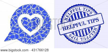 Fraction Mosaic Favourite Heart Message Icon, And Blue Round Helpful Tips Grunge Badge With Word Ins
