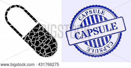 Debris Mosaic Medical Capsule Icon, And Blue Round Capsule Grunge Stamp With Tag Inside Round Shape.