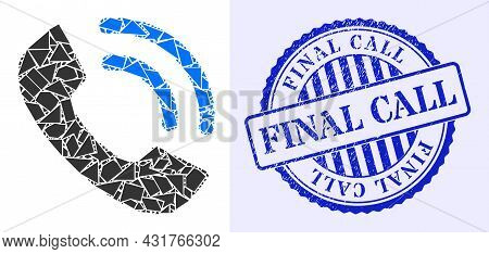 Debris Mosaic Phone Ring Icon, And Blue Round Final Call Grunge Stamp Seal With Text Inside Circle F