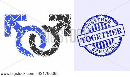 Debris Mosaic Gay Pair Symbol Icon, And Blue Round Together Grunge Seal With Caption Inside Round Fo