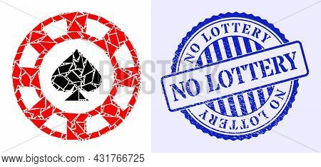 Shatter Mosaic Spades Casino Chip Icon, And Blue Round No Lottery Unclean Seal With Word Inside Roun