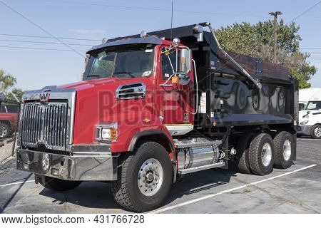 Indianapolis - Circa September 2021: Western Star Heavy Duty 4700sb Dump Truck. Western Star Is Owne
