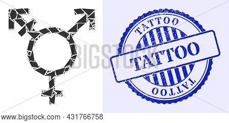 Debris Mosaic Three Gender Symbol Icon, And Blue Round Tattoo Grunge Watermark With Text Inside Roun