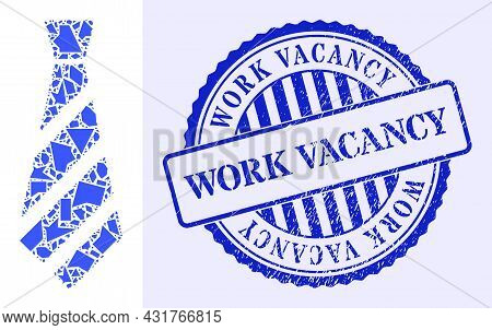 Debris Mosaic Striped Tie Icon, And Blue Round Work Vacancy Rubber Stamp Seal With Word Inside Round
