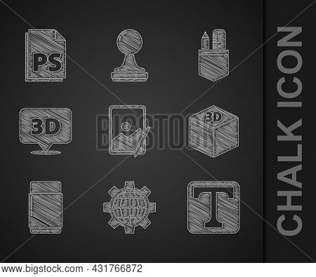 Set Graphic Tablet, Globe Of The Earth And Gear, Text, Isometric Cube, Eraser Or Rubber, Speech Bubb