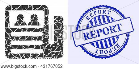 Debris Mosaic Newspaper Icon, And Blue Round Report Scratched Stamp Seal With Text Inside Round Shap