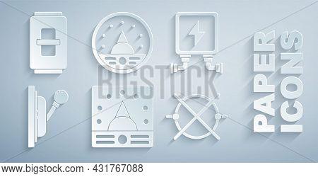 Set Ampere Meter, Multimeter, Voltmeter, Electric Transformer, Electrical Panel, Circuit Scheme, And