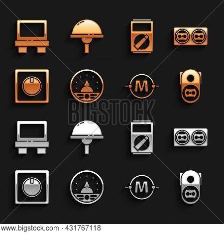 Set Ampere Meter, Multimeter, Voltmeter, Electrical Outlet, Circuit Scheme, Light Switch, Multimeter