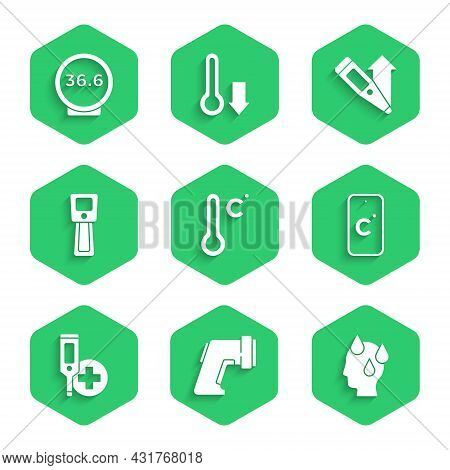 Set Meteorology Thermometer, Digital, High Human Body Temperature, Celsius, And Medical Icon. Vector