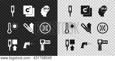 Set Digital Thermometer, Celsius, High Human Body Temperature, Meteorology And Medical Icon. Vector