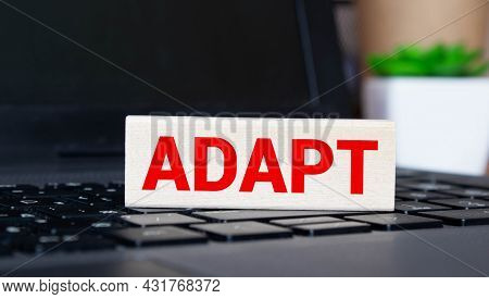 Adapt Word Made With Building Blocks. Concept