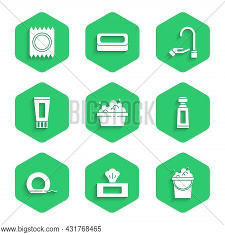 Set Basin With Soap Suds, Wet Wipe Pack, Bucket, Tube Of Toothpaste, Dental Floss, Washing Hands And