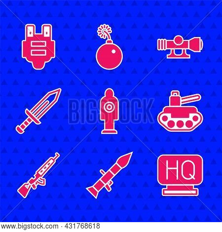 Set Human Target Sport For Shooting, Rocket Launcher, Military Headquarters, Tank, Sniper Rifle With