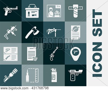 Set Pistol Or Gun, Location With Weapon, Firearms License Certificate, Advertising, Wooden Axe, Mp9i