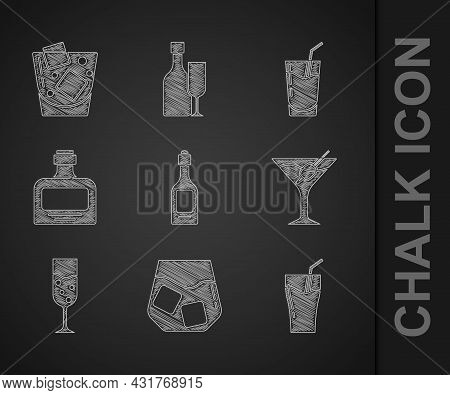 Set Champagne Bottle, Glass Of Whiskey, Juice, Martini Glass, Champagne, Whiskey, Cocktail And Icon.