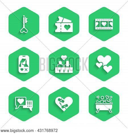 Set Couple In Love, Healed Broken Heart, Romantic Bathroom, Heart, Speech Bubble, Dating App Online,