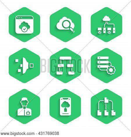 Set Hierarchy Organogram Chart, Cloud Technology Data Transfer, Folder Tree, Server And Gear, Analys