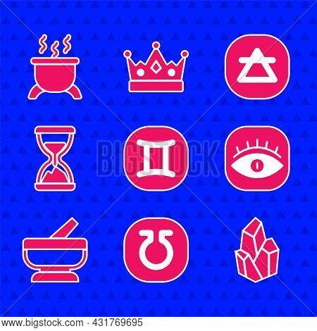 Set Gemini Zodiac, Life, Magic Stone, Masons, Mortar And Pestle, Old Hourglass With Sand, Air Elemen