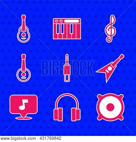 Set Audio Jack, Headphones, Stereo Speaker, Electric Bass Guitar, Music Note, Tone, Banjo, Treble Cl