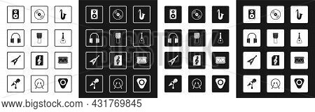 Set Musical Instrument Saxophone, Drum, Headphones, Stereo Speaker, Guitar, Vinyl Disk, And Electric
