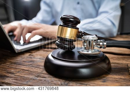 Doctor Malpractice In Court. Gavel At Courtroom. Law And Justice