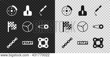 Set Bicycle Brake Disc, Seat, Air Pump, Chain, Ribbon Finishing Line, Checkered Flag And Wheel Icon.