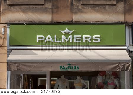 Ljubljana, Slovenia - June 19, 2021:palmers Logo In Front Of Their Store For Ljubljana. Palmers Is A