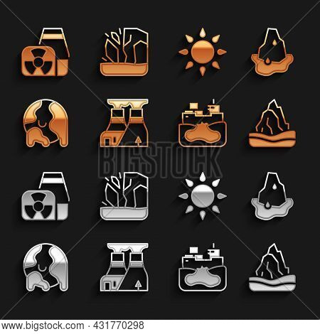 Set Nuclear Power Plant, Glacier Melting, Iceberg, Wrecked Oil Tanker Ship, Global Warming, Sun, And