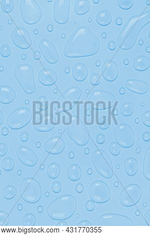 Water Drops On A Pastel Blue Vertical Background. Water Texture Close Up. Backdrop Glass Covered Wit